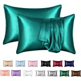 MR&HM Satin Pillowcase Set of 2, Queen Size Silky Pillow Cases for Hair and Skin No Zipper, 2 - Pack Pillow Cover with Envelo