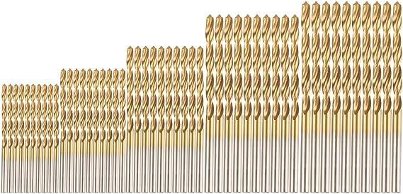 Image ofLote de 50 brocas heliocoidales de acero bañadas en titanio de 1, 1,5, 2, 2,5 y 3mm; perforación para madera, plástico, aluminio y cobre