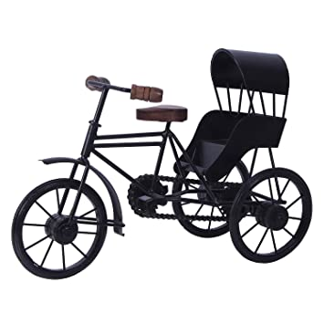 Classic Shoppe Wooden and Wrought Iron Miniature Rickshaw, Black Kids' Cycles & Accessories at amazon