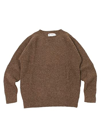 Harley of Scotland Voe True Shetland Rib Crewneck Sweater 4141-7: Moorit