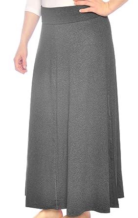 262421a72d Kosher Casual Women s Modest Long Flowing Adjustable Length Fold Over  Waistband Maxi Skirt Extra Small Dark