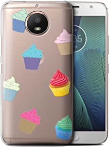 Phone Case for Motorola Moto E4 2017 Pieces of Food Cupcake Design Transparent Clear Ultra Slim Thin Hard Back Cover
