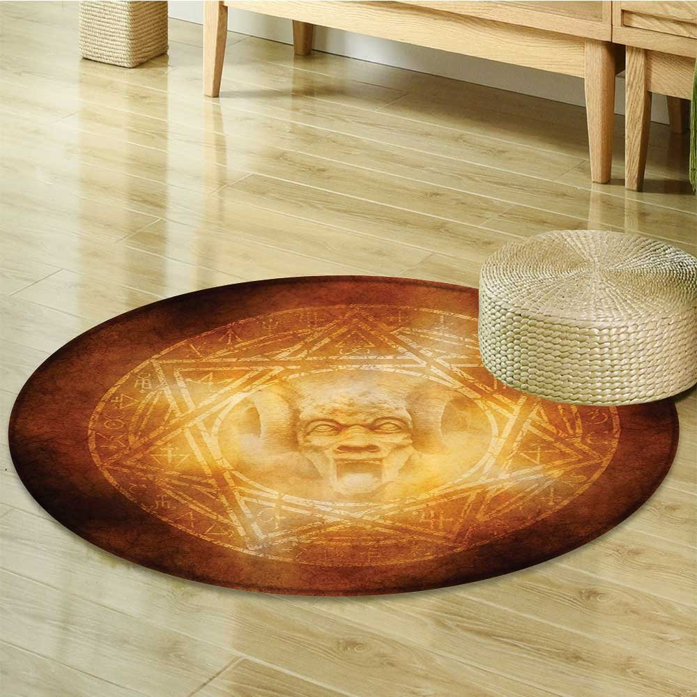 Horror House Decor Circle carpet by Nalahomeqq Demon Trap Symbol Logo Ceremony Creepy Ritual Fantasy Paranormal Design Fabric Room Decor non-slip Orange-Diameter 60cm(24'')