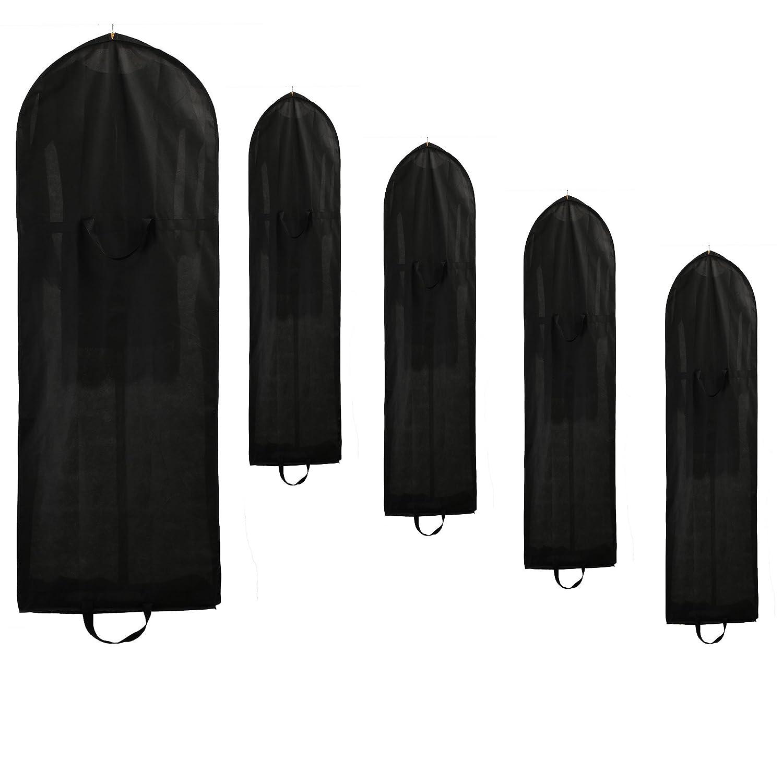 TUKA traspirante Borsa porta abiti, 149cm x 57cm Sacca per Indumenti, Respirabile Stoccaggio per vestiti / giacche / cappotti. 2 tasche per gli accessori, 2 manici, Nero, TKB1007 Black TUKAI