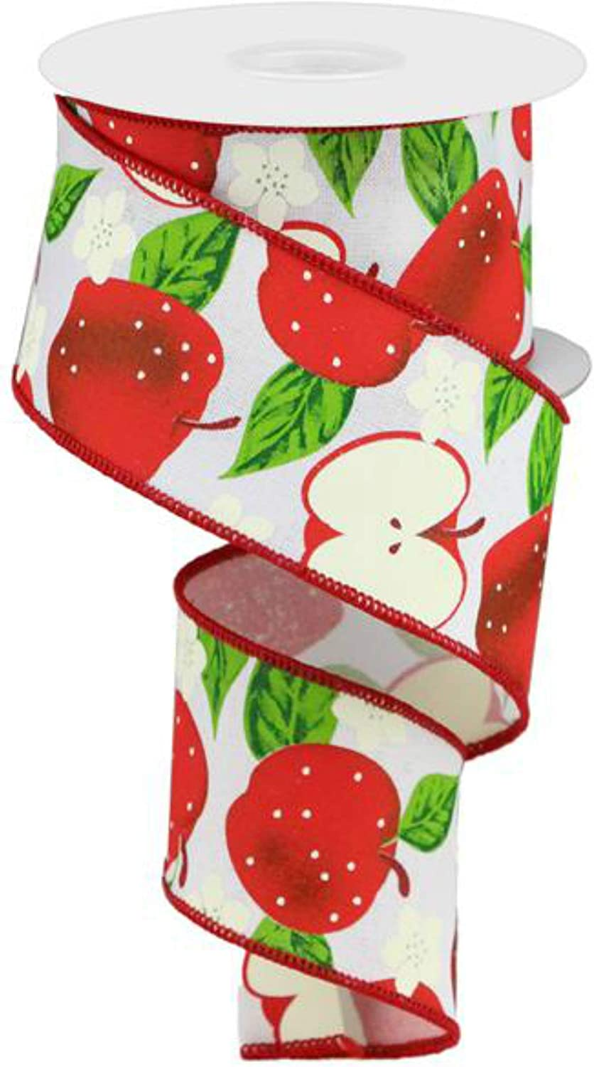 "2.5"" Apples On Royal Ribbon: White (10 Yards) - Fruit Apple Wired Edge Ribbon by Expressions RGA118827"