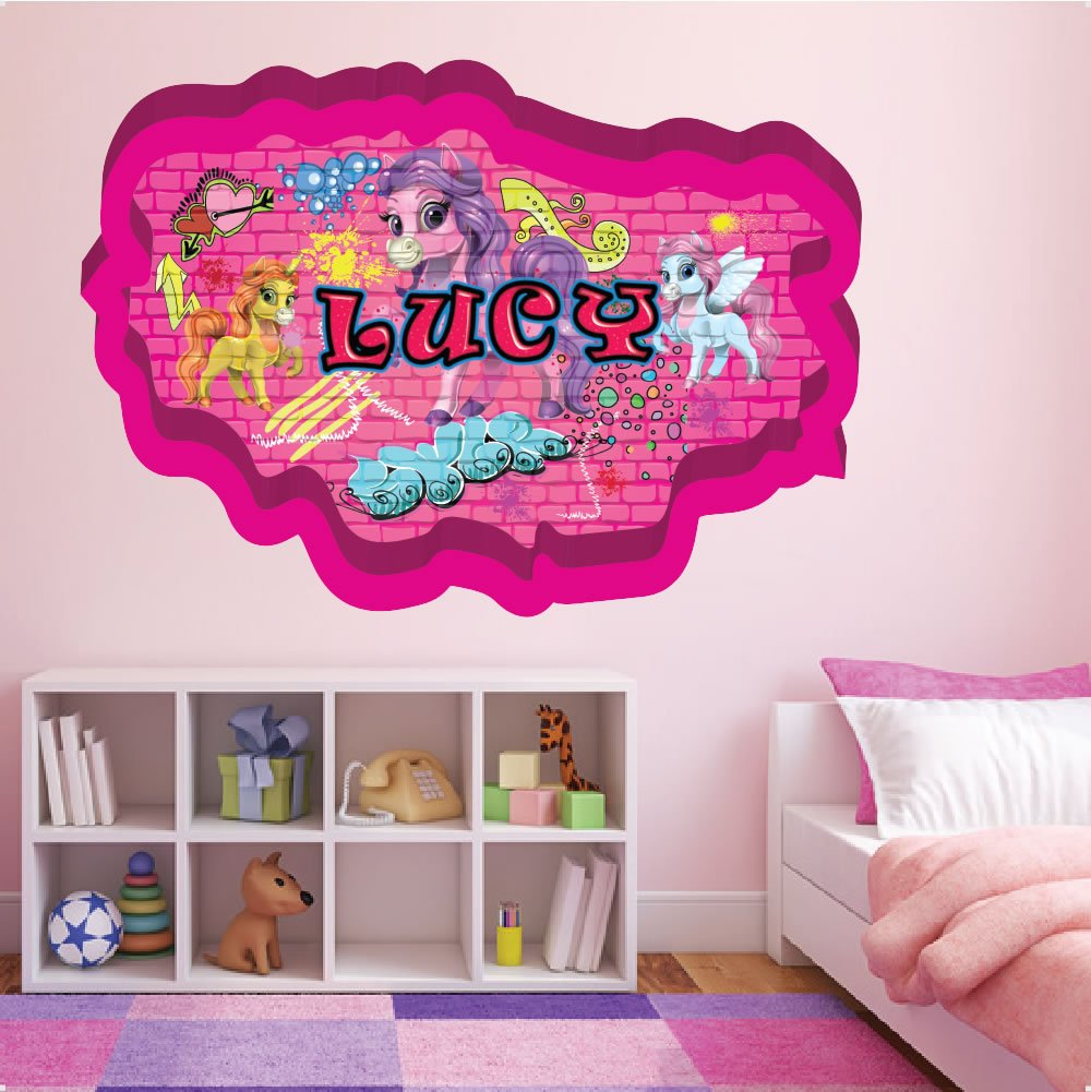 Graffiti personalised name unicorn crack 002 wall girls room wall sticker decals repositionable fabric removable vinyl nursery kids room children bedroom