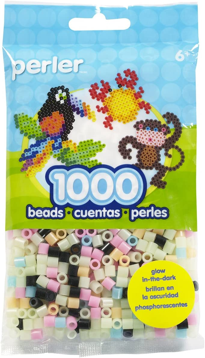 Perler Beads Fuse Beads for Crafts, 1000pcs, Multicolor Glow in the Dark