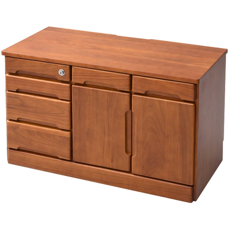 山善(YAMAZEN) 木製 電話台 引き出し 木製 鍵付き 80幅 HLFX-5080K B077Y74QWB  幅80