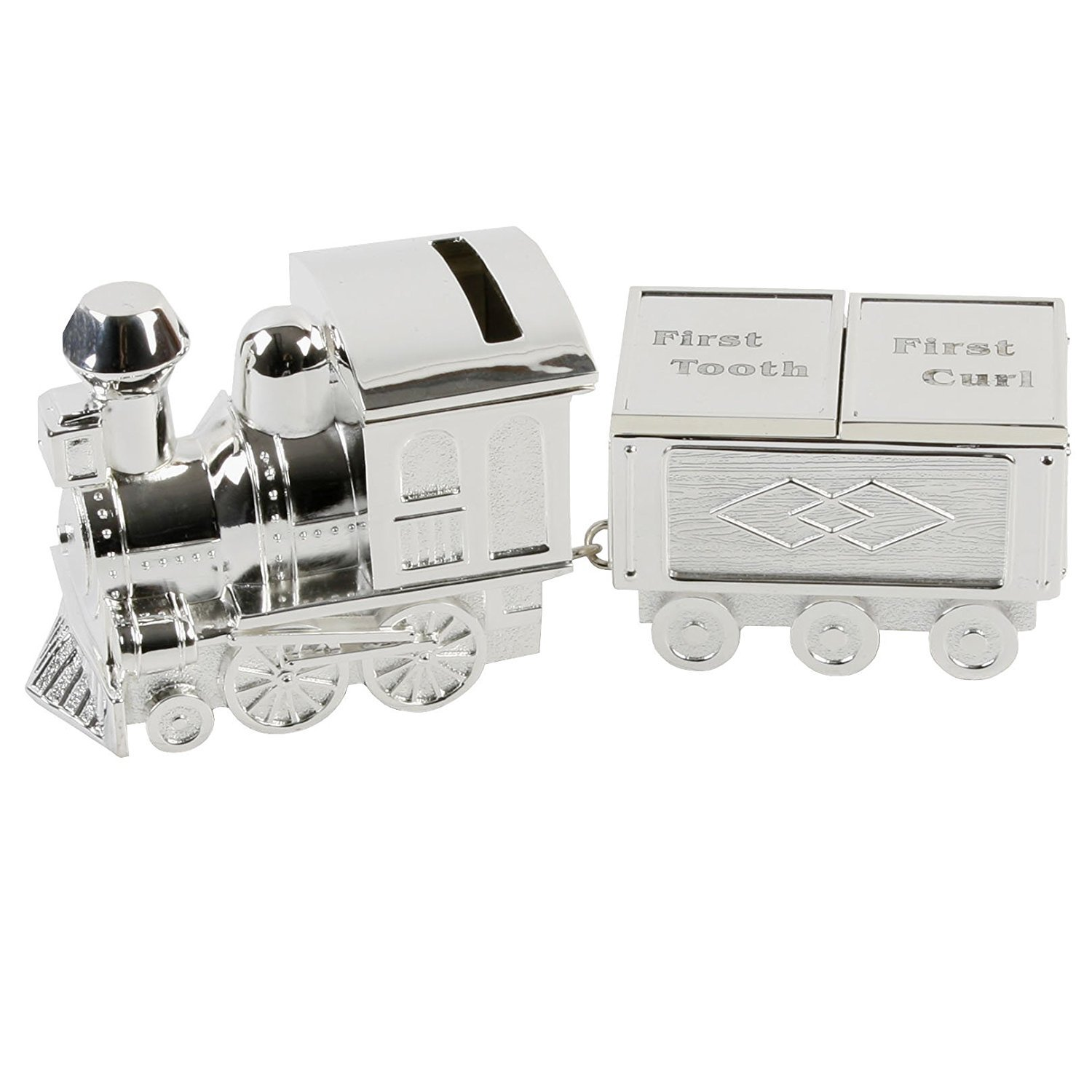 Silver Plated Train Money Box, Tooth & Curl Carriages- Baby Christening Gift KitchenCentre 13340
