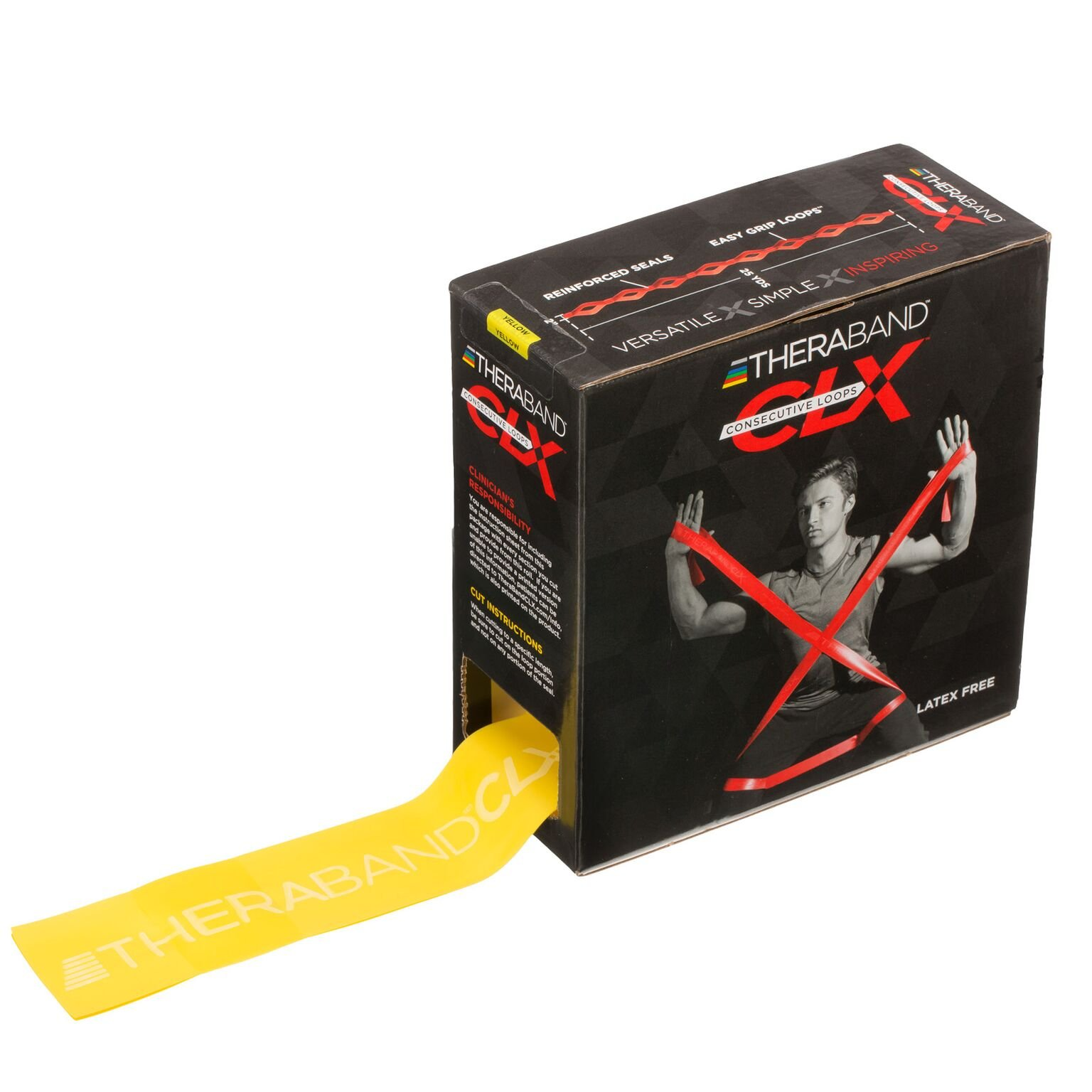 TheraBand CLX Resistance Band with Loops, Fitness Band for Home Exercise and Full Body Workouts, Portable Gym Equipment, Best Gift for Athletes, 25 Yard Dispenser Box, Yellow, Thin, Beginner Level 2
