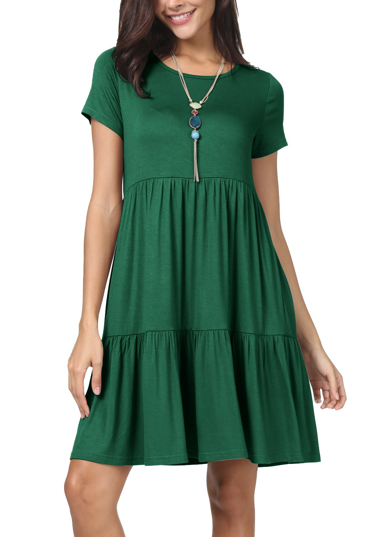 levaca Women Summer Short Sleeve Pleated Loose Swing Cute Mini Dress Green M