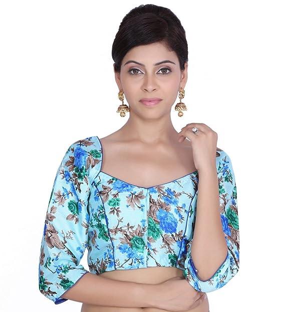 Jaipur Kala Kendra de la mujer cielo Azul para Novia, diseño floral impreso Saree Blusa