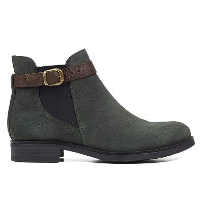Moteros - Botines Tipo Chelsea con Adorno de Hebilla Verde: Amazon.es: Zapatos y complementos
