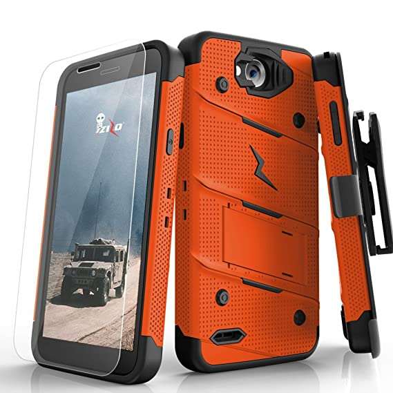 purchase cheap b4ef2 b7593 Zizo Bolt Series compatilbe with LG X Charge Case Military Grade Drop  Tested with Tempered Glass Screen Protector Holster Orange Black