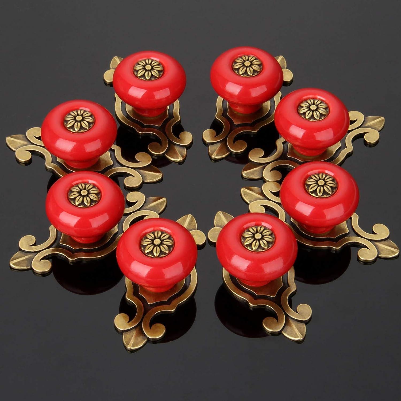 8PCS Vintage Flower Ceramic Pull Handle Knob for Door Cabinet Cupboard Drawer Closet-Matt Black+Green MUXSAM