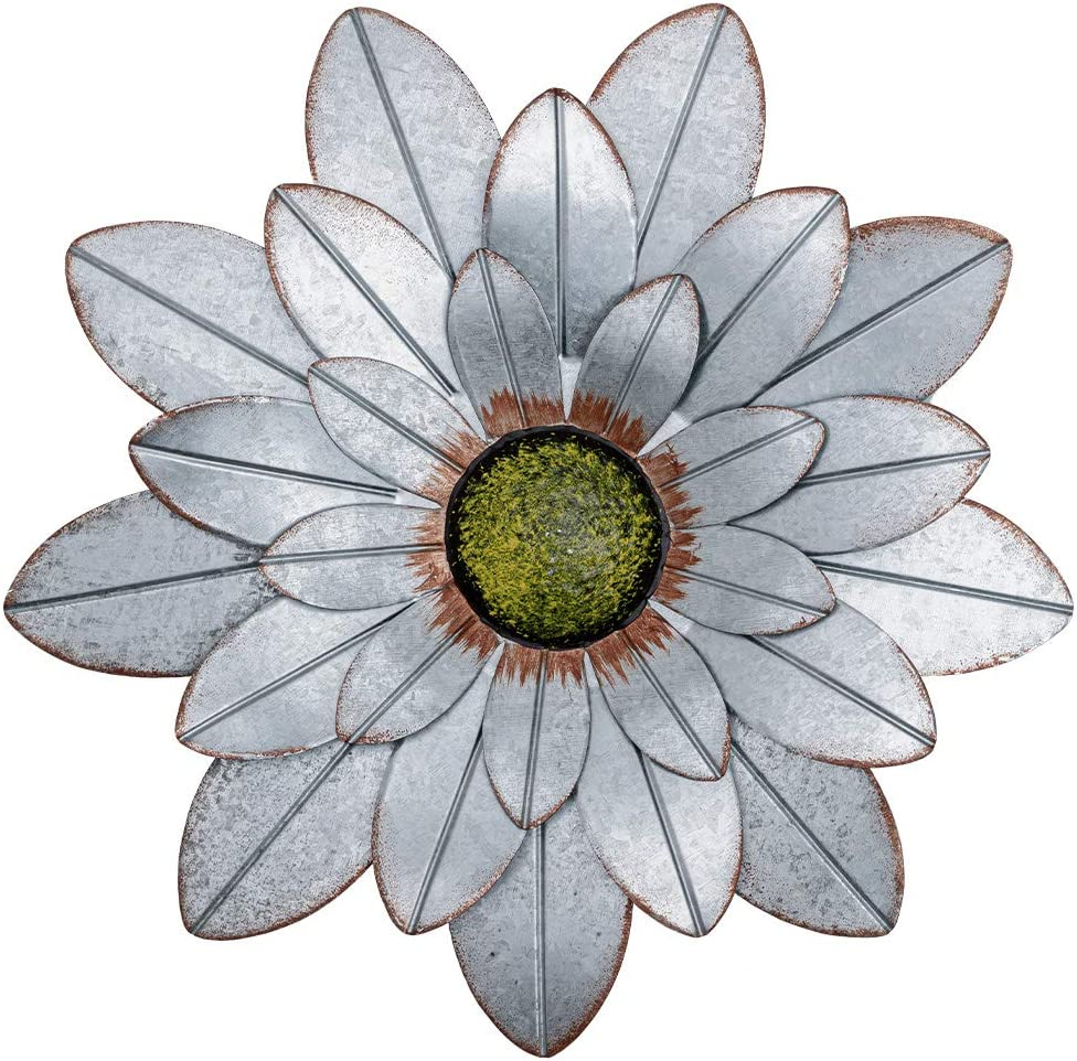 YEAHOME Metal Flower Wall Decor, 13inch Rustic Outdoor Metal Wall Art for Bedroom, Living Room, Kitchen, Bathroom, Home Decor Boho Art for Backyard Decorations