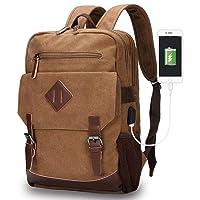 Deals on Modoker Canvas College School Messenger Rucksack Bookbag