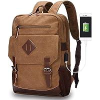 Modoker Canvas College School Messenger Rucksack Bookbag (Brown)