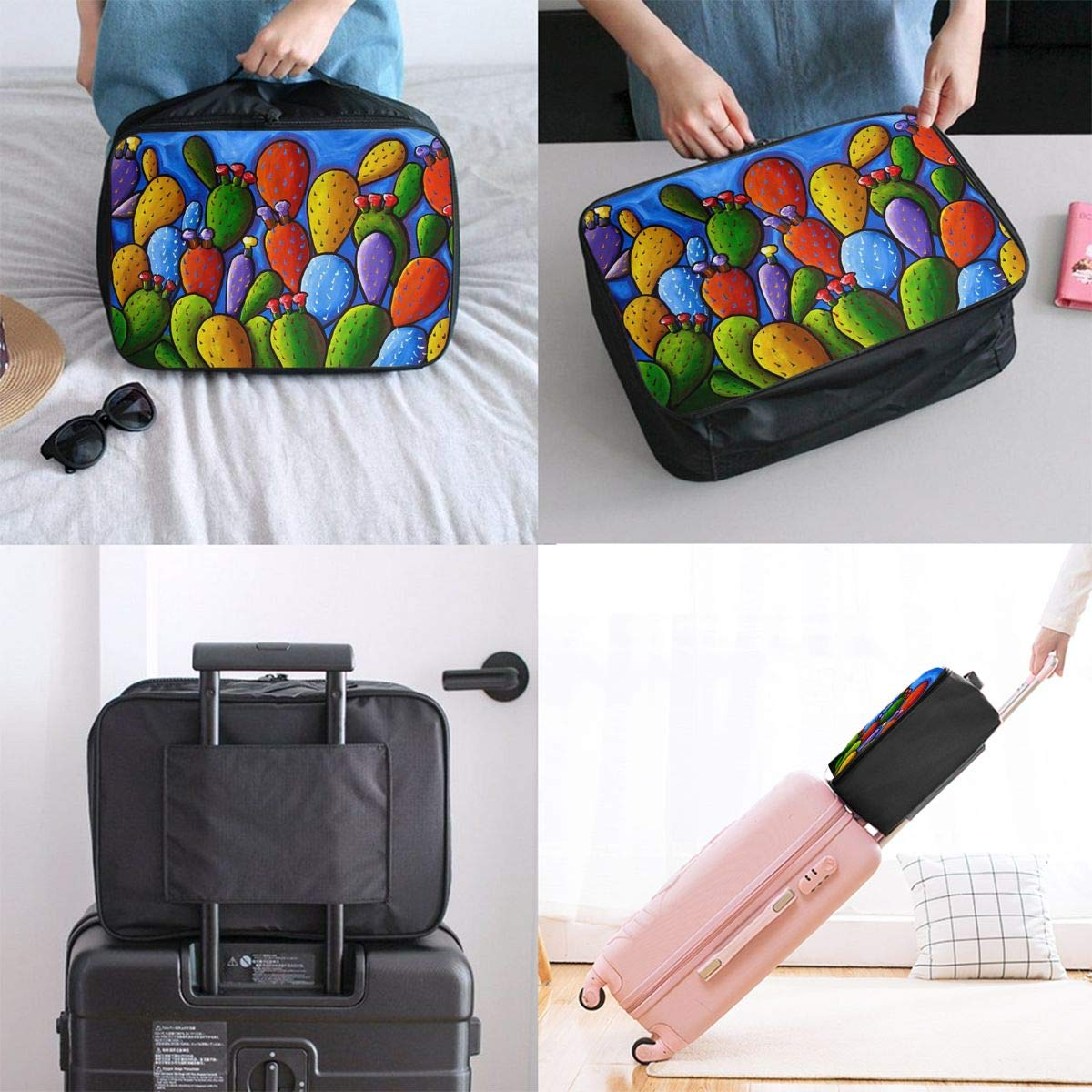 Travel Fashion Lightweight Large Capacity Duffel Portable Waterproof Foldable Storage Carry Luggage Tote Bag Wilder California Prickly Pear Colorful Cactus