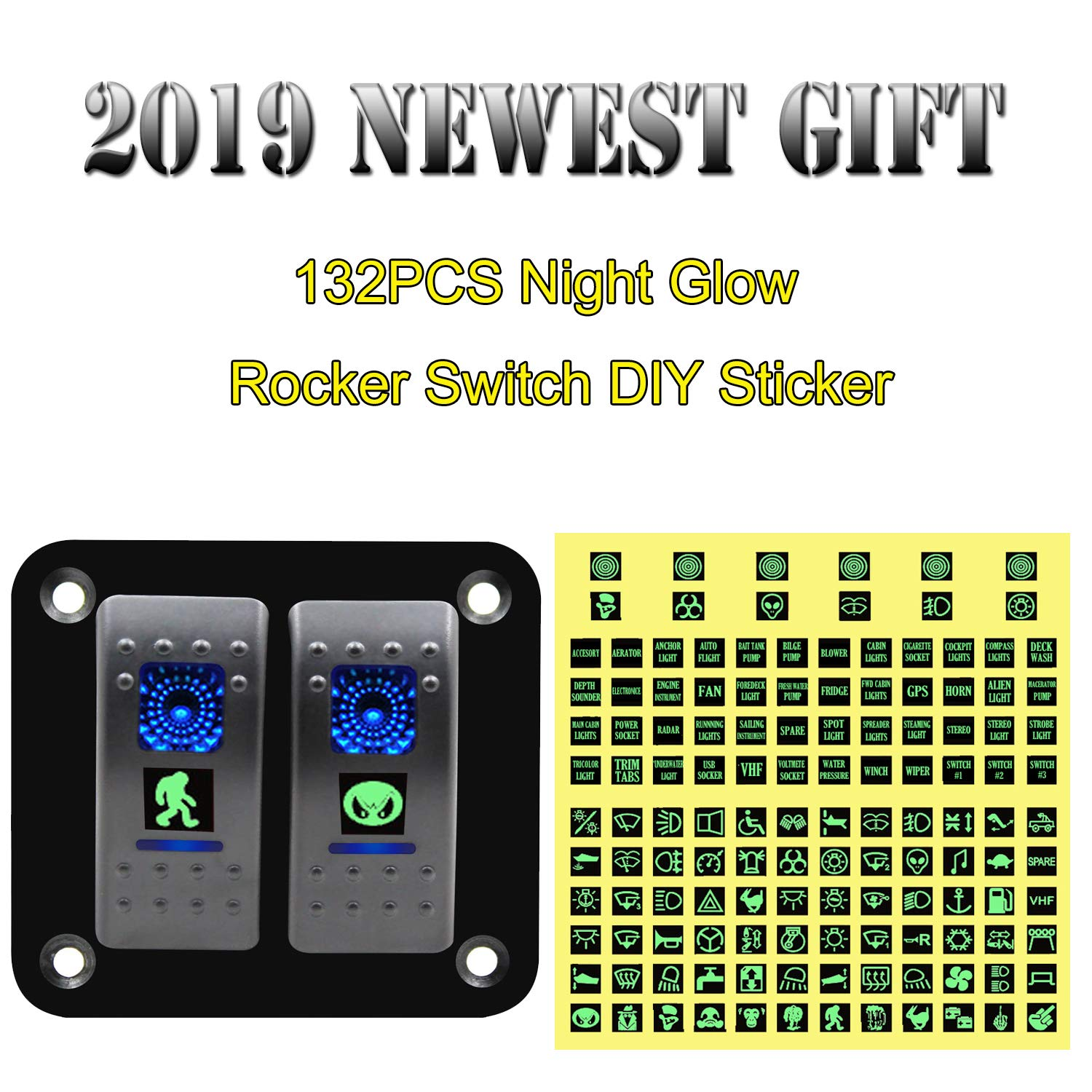 FXC Rocker Switch Aluminum Panel 2 Gang Toggle Switches Dash 5 Pin ON/Off 2 LED Backlit for Boat Car Marine Blue by FXC