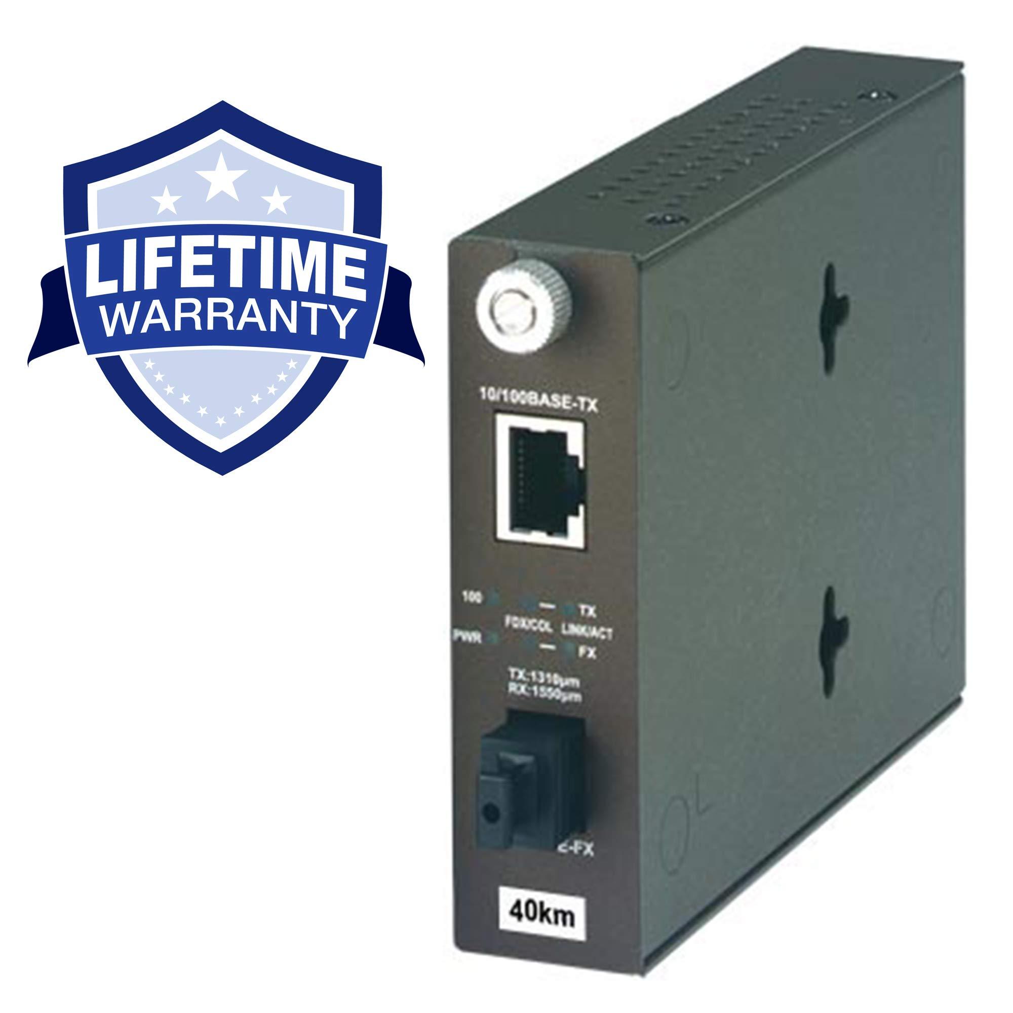 TRENDnet 100Base-TX to 100Base-FX Dual Wavelength Single Mode SC Fiber Converter TX:310nm (40 Km, 24.9 Miles), Lifetime Protection, TFC-110S40D3