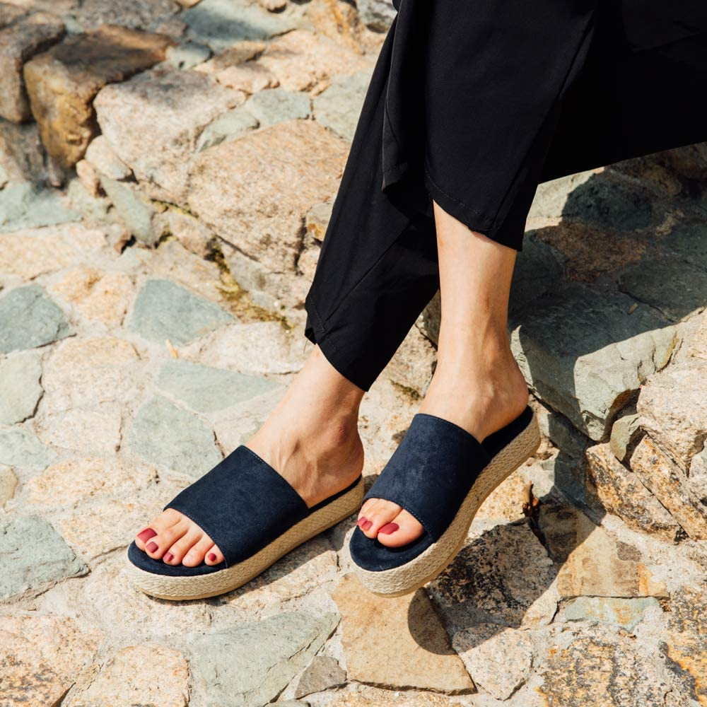 Sandale Femme Espadrilles Compens/ées Mule Talon de /Ét/é Plage Vacances Chaussures de Bout Ouvert Bande Crois/ée Plateforme 5.3cm Noir Marron Or L/éopard EU35-EU43