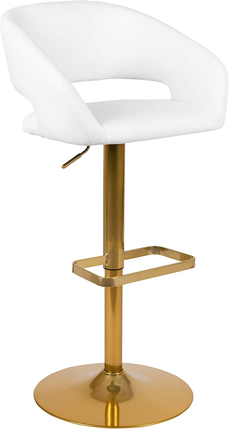 Flash Furniture Contemporary White Vinyl Adjustable Height Barstool with Rounded Mid-Back and Gold Base