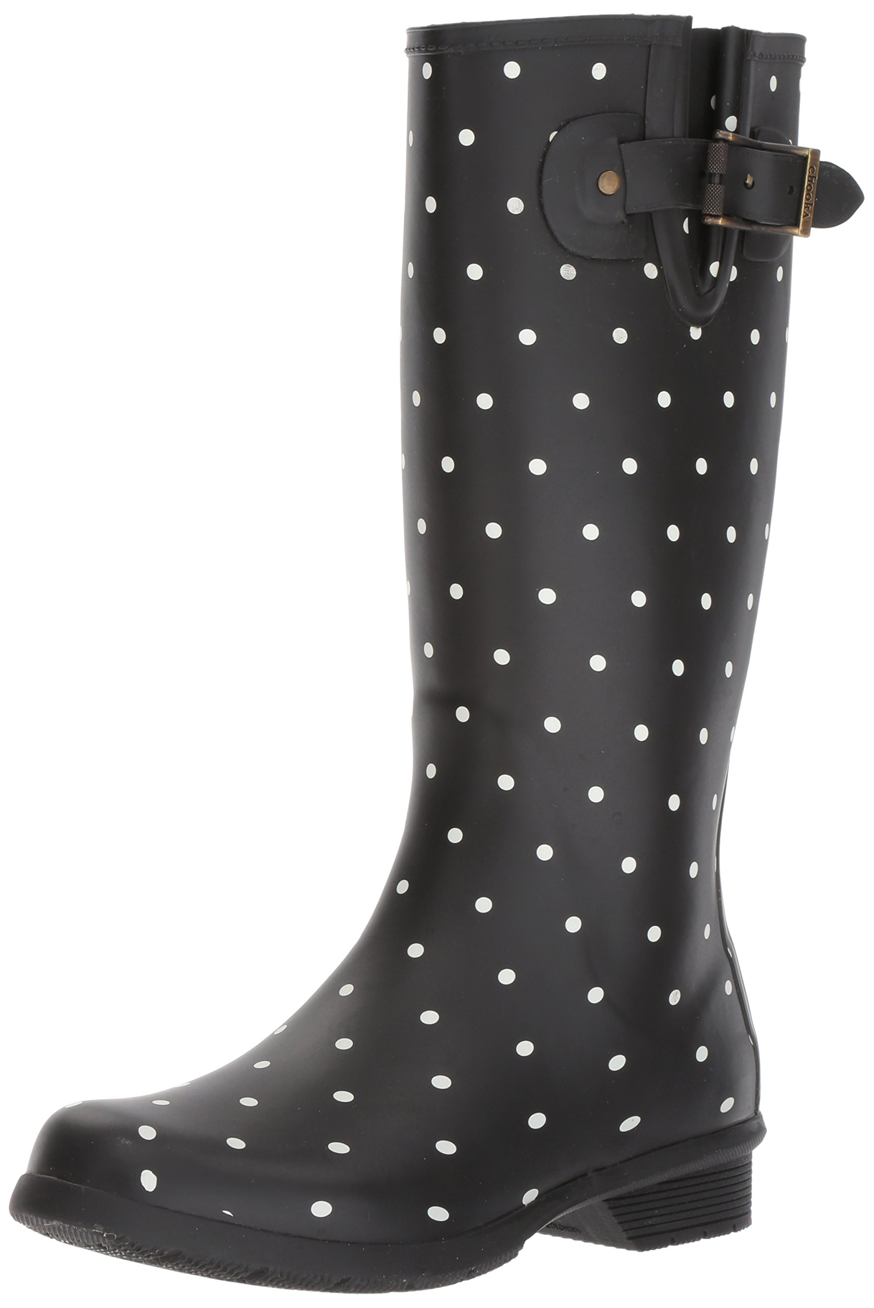 Chooka Women's Tall Memory Foam Rain Boot, Dot Blanc Black, 9 M US
