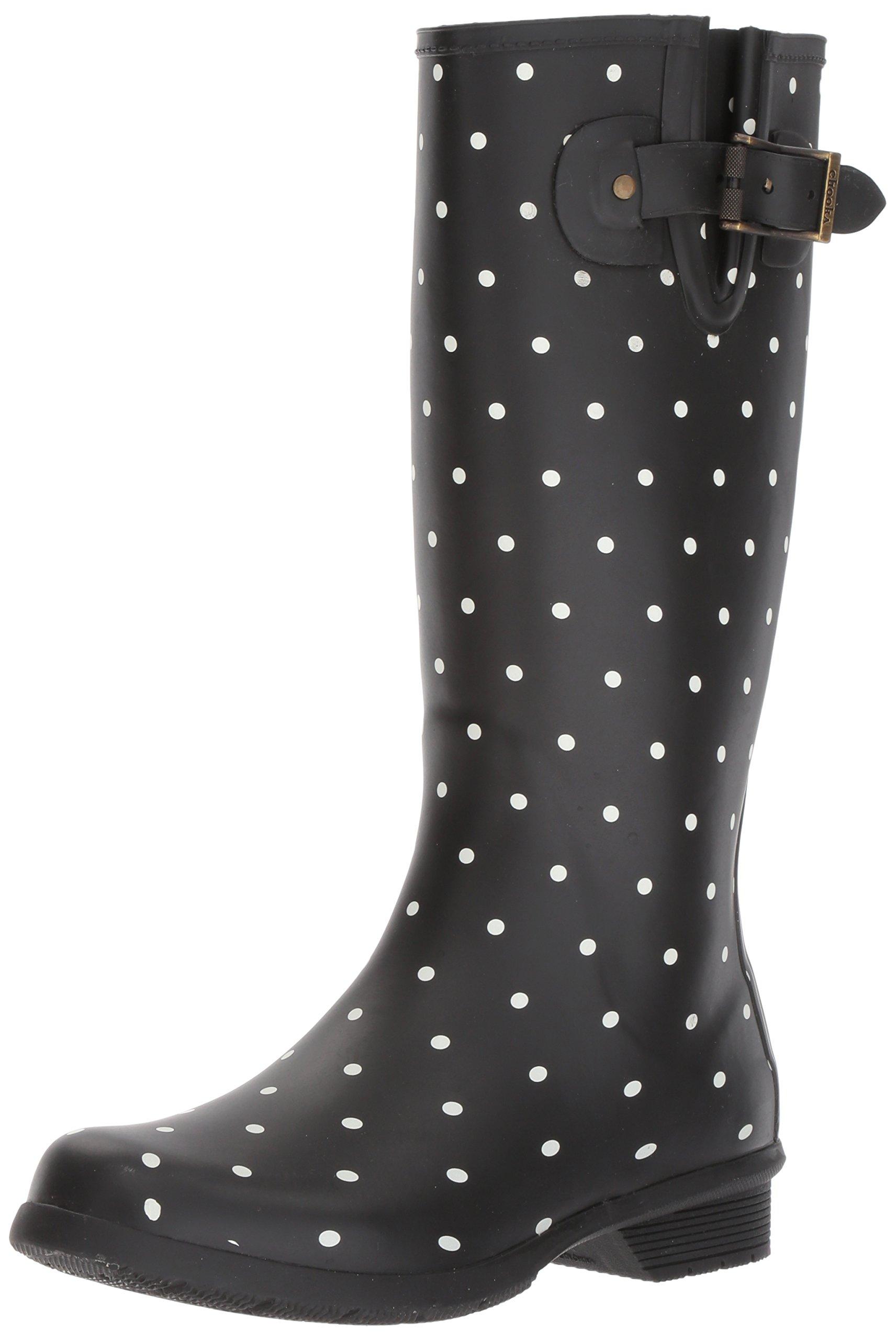 Chooka Women's Tall Memory Foam Rain Boot, Dot Blanc Black, 11 M US