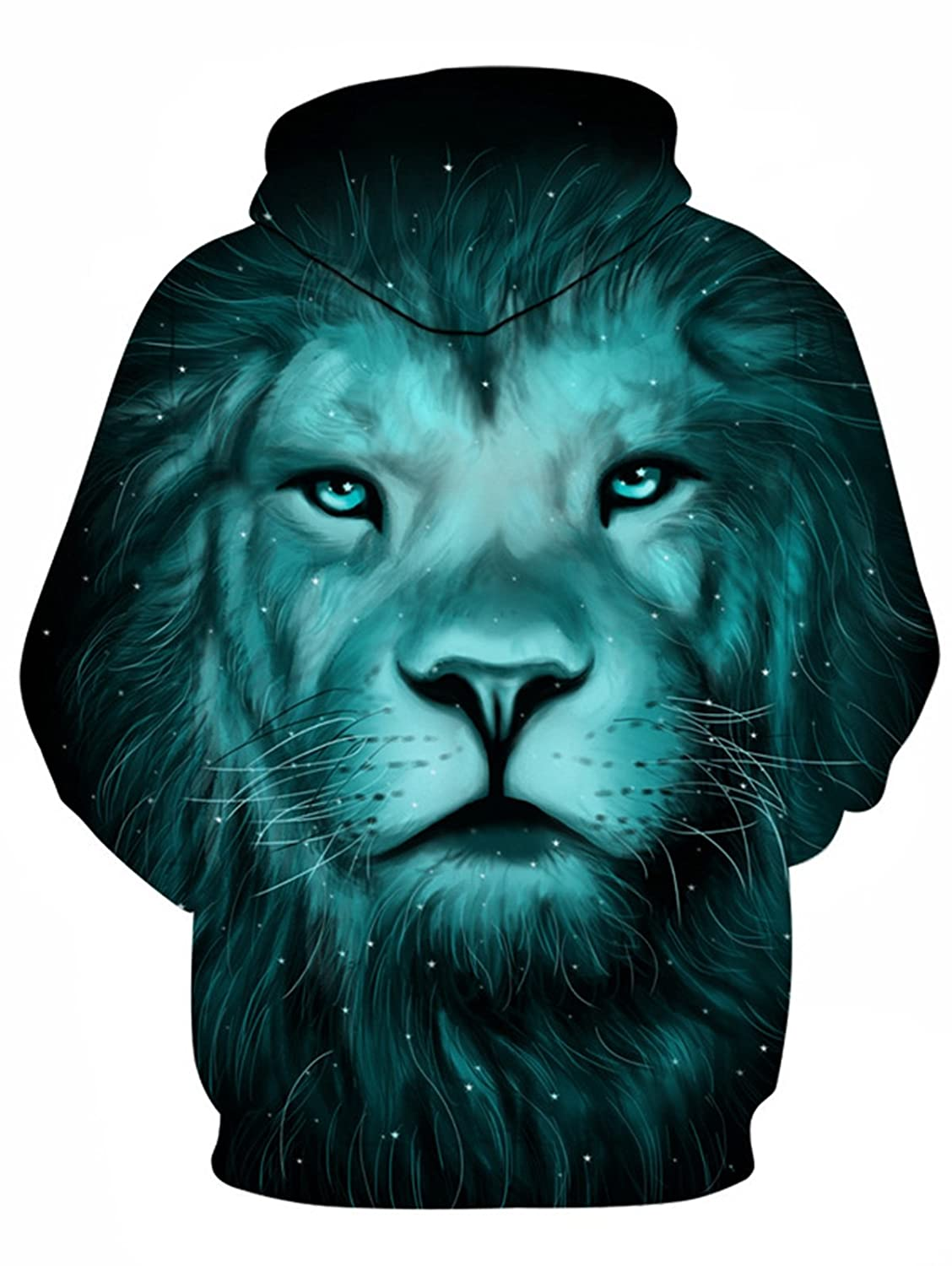 4c4a595593 Hannea 3D Lion Galaxy Print Pullover Hoodie: Amazon.in: Clothing &  Accessories