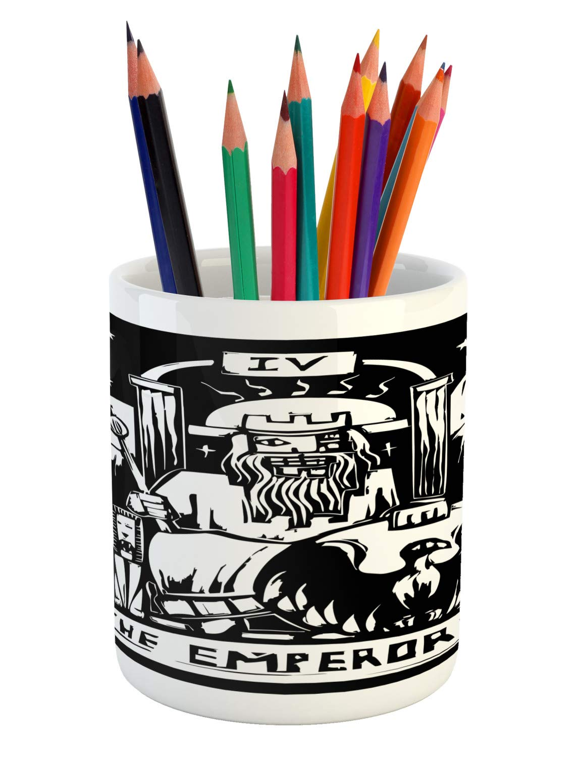 Ambesonne Tarot Pencil Pen Holder, Tarot Card for The Emperor Woodcut Style Illustration Monochromatic Artwork, Printed Ceramic Pencil Pen Holder for Desk Office Accessory, Black and White