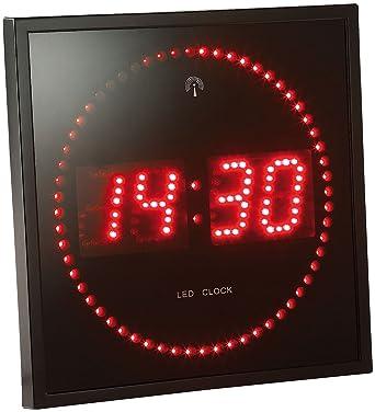 7bd29783d2efb4 Lunartec Horloge digitale murale avec 60 LED - Radiopilotée - Rouge ...