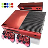 Skin For Xbox One - Morbuy Vinyl Full Body Protective Sticker Cover Decal For Microsoft Xbox One Console & 2 Dualshock Controller Skins + 10pc Silicone Thumb Grips (Red Glossy)