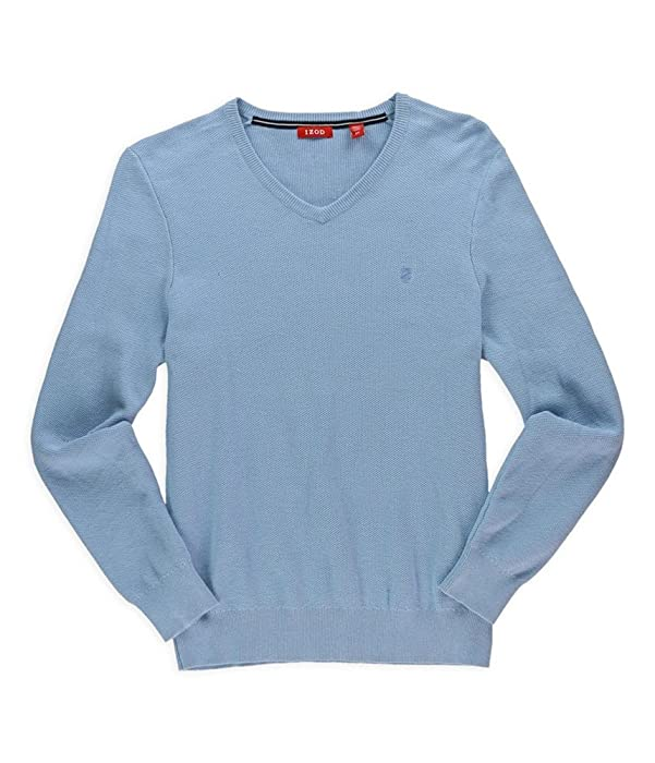 598265663c3 IZOD Mens Fine Gauge Text Pullover Sweater bluebell S at Amazon ...