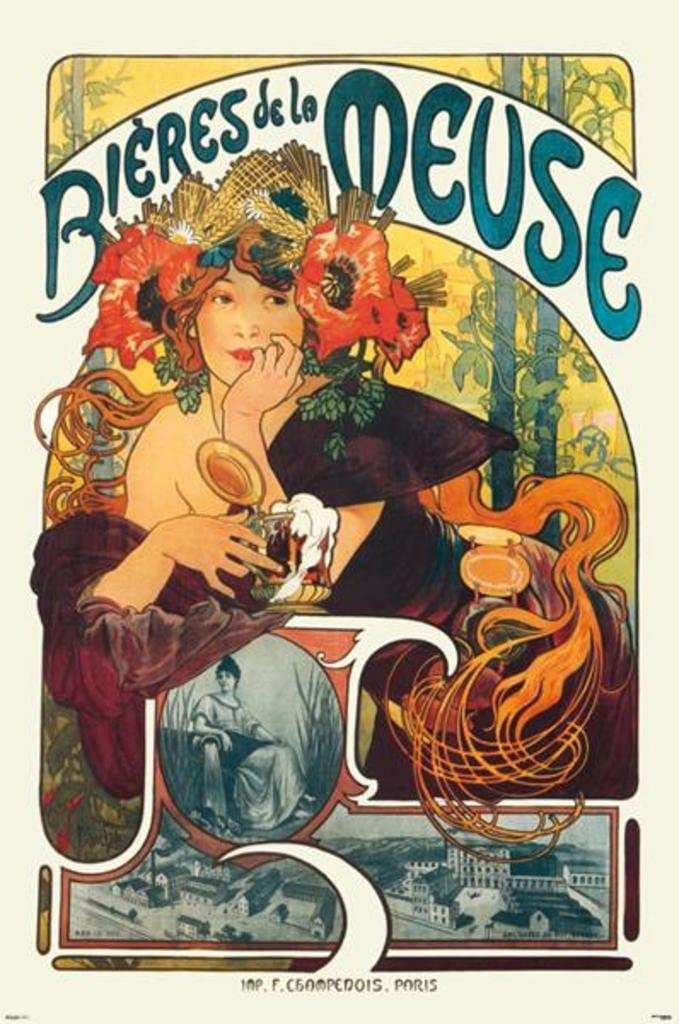 Bieres Of The Meuse By Alphonse Mucha AAM003 Art Print A4 A3 A2 A1
