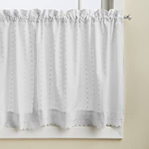 LORRAINE HOME FASHIONS Ribbon Eyelet Window Tier, 60 by 36-Inch, White, Set of 2