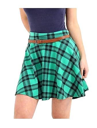 Zaif & Hari Falda Corta para Mujer, diseño de Cuadros Escoceses ...