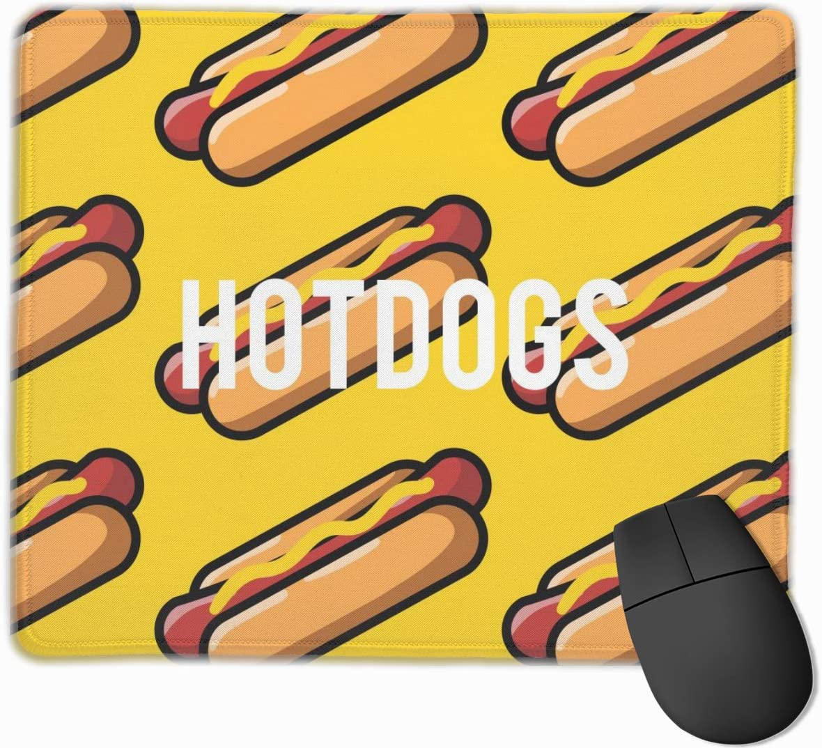 BINGZHAO Yellow Simple Hot Dogs Pattern Rectangular Non-Slip Gaming Mouse Pad Keyboard Rubber Mouse Pad for Home and Office Laptops