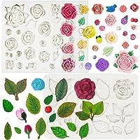 Moldes de silicona para fondant, diseño de flores y hojas, 40 cavidades, 2 bandejas