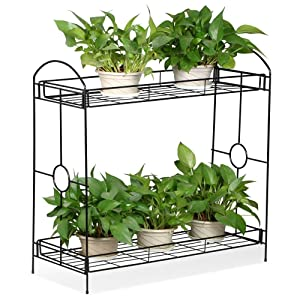 Topeakmart Indoor/Outdoor 2-Tier Metal Flower Stand Plant Stand Rack w/Tray Design Garden & Home Black,33.5 x 13.4 x 31.9in. (W x D x H)
