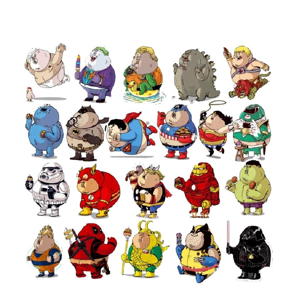 Setproducts ⭐top stickers ⭐ pack of 32 fat super heroes stickers sticker hd non vulgar bomb superman spiderman thor mario yoda big