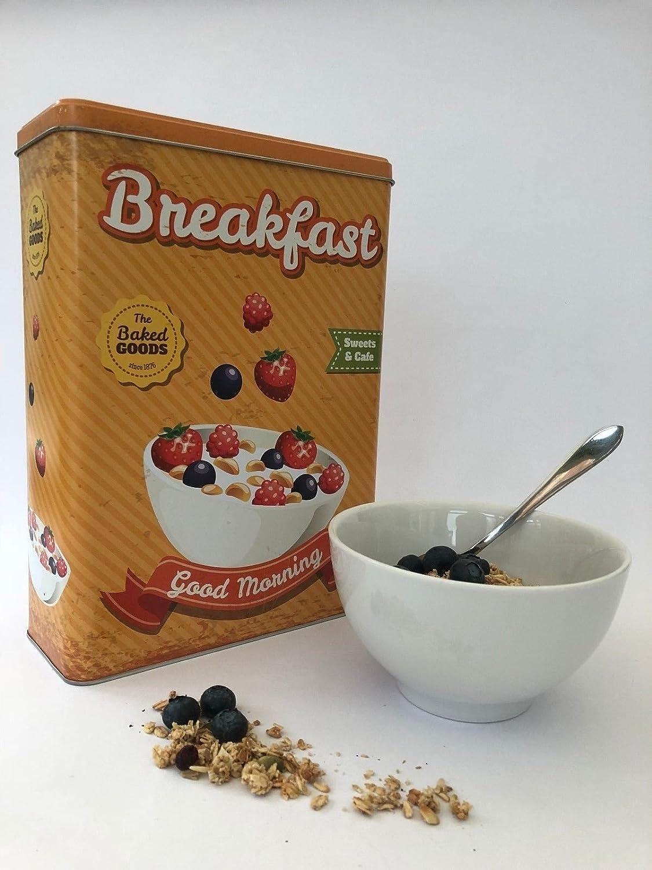 Homes on Trend Caja de almacenamiento del caddie del estante de la cocina del estaño del cereal del desayuno del metal de la vendimia: Amazon.es: Hogar