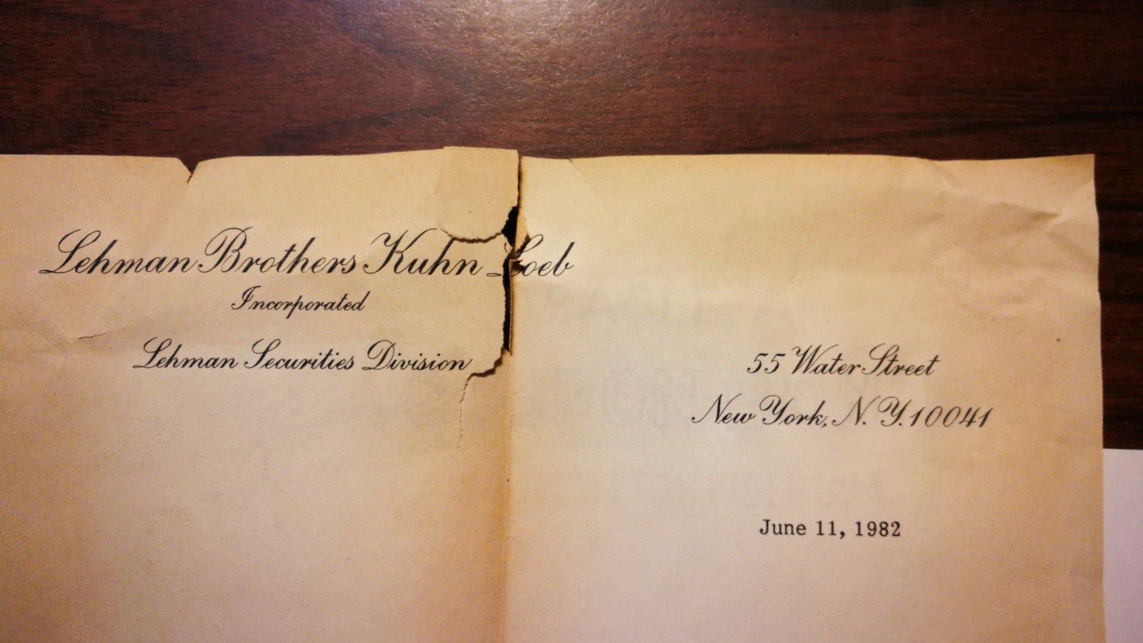 RARE Original 1982 Lehman Brothers Edward McGlynn Signed Letter Securities