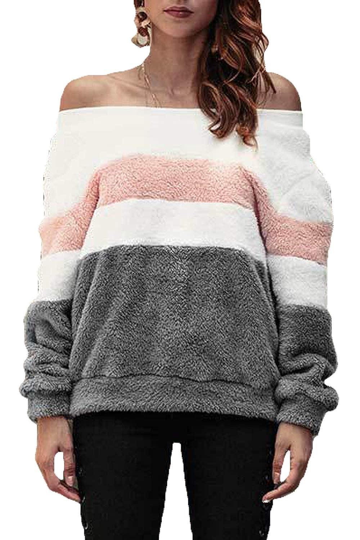Women Sweatshirt Fuzzy Striped Contrast Color Pullover Sweater Tops