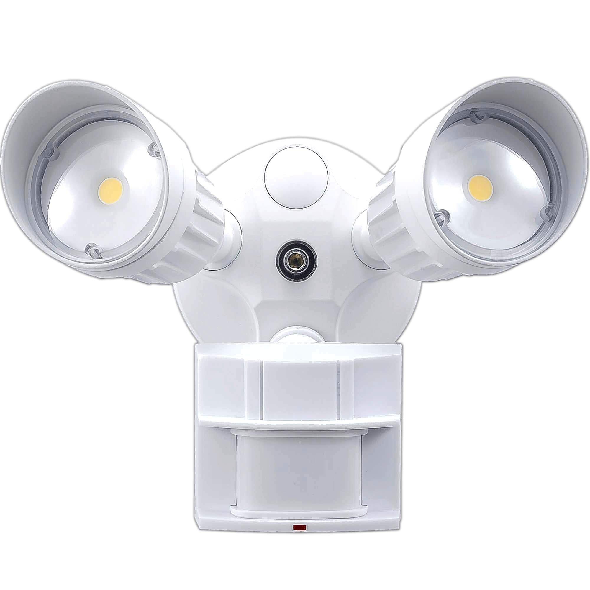 2 Pack LED Security Light 20W Flood, Motion Sensor + Photocell, 1750 lm, 5000K (Daylight), Adjustable Head, White, IP65, DLC and ETL Listed