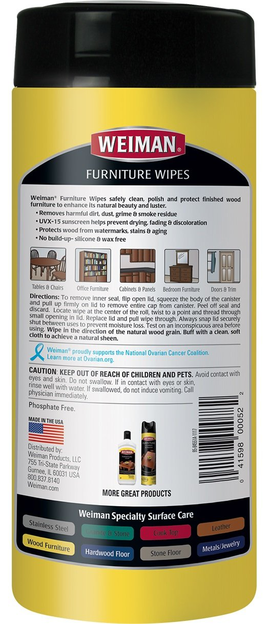 Weiman Wood Cleaner and Polishing Wipes - 2 Pack - For Furniture To Beautify & Protect, No Build-Up, Contains UVX-15, Pleasant Scent, Surface Safe - 30 Count by Weiman (Image #2)