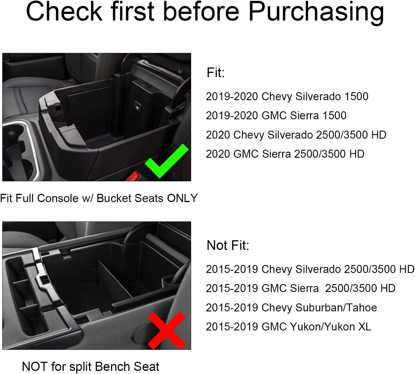 SENSHINE Center Console Organizer for 2019 Chevy Silverado 1500 GMC Sierra 1500 and 2020 Chevy Silverado GMC Sierra 1500 2500 3500 HD Armrest Tray Box Blue Trim, Full Console w//Bucket Seats ONLY