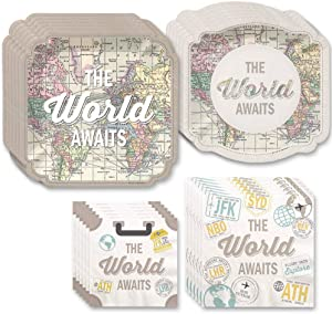 Big Dot of Happiness World Awaits - Travel Themed Party Tableware Plates and Napkins - Bundle for 16