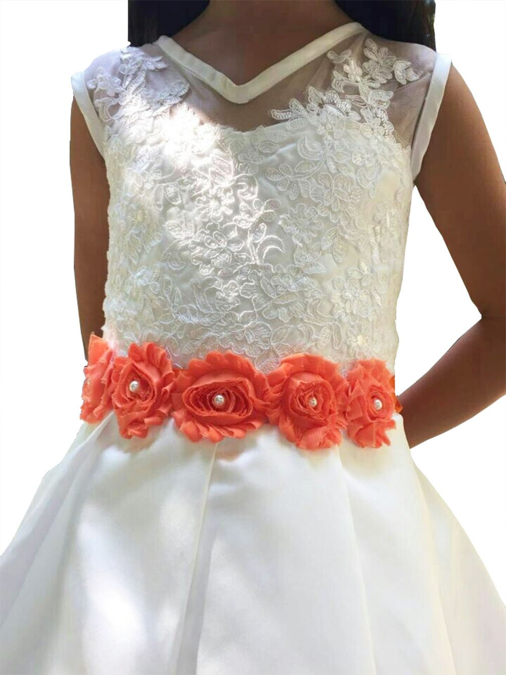 Lemandy Vintage Chiffon Flower and Pearls Flowergirls Sash for Pageant Prom Wedding in 10 Colors (Orange)