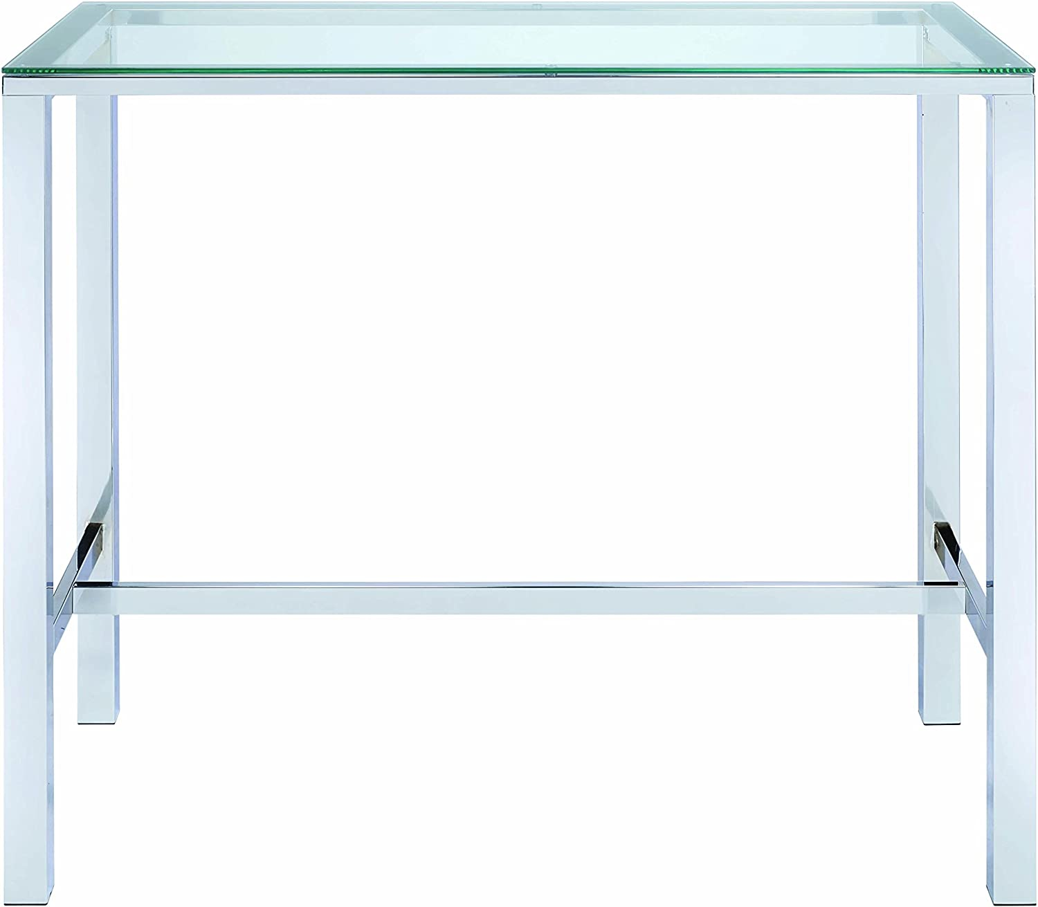 Bar Table with Glass Top Chrome and Clear